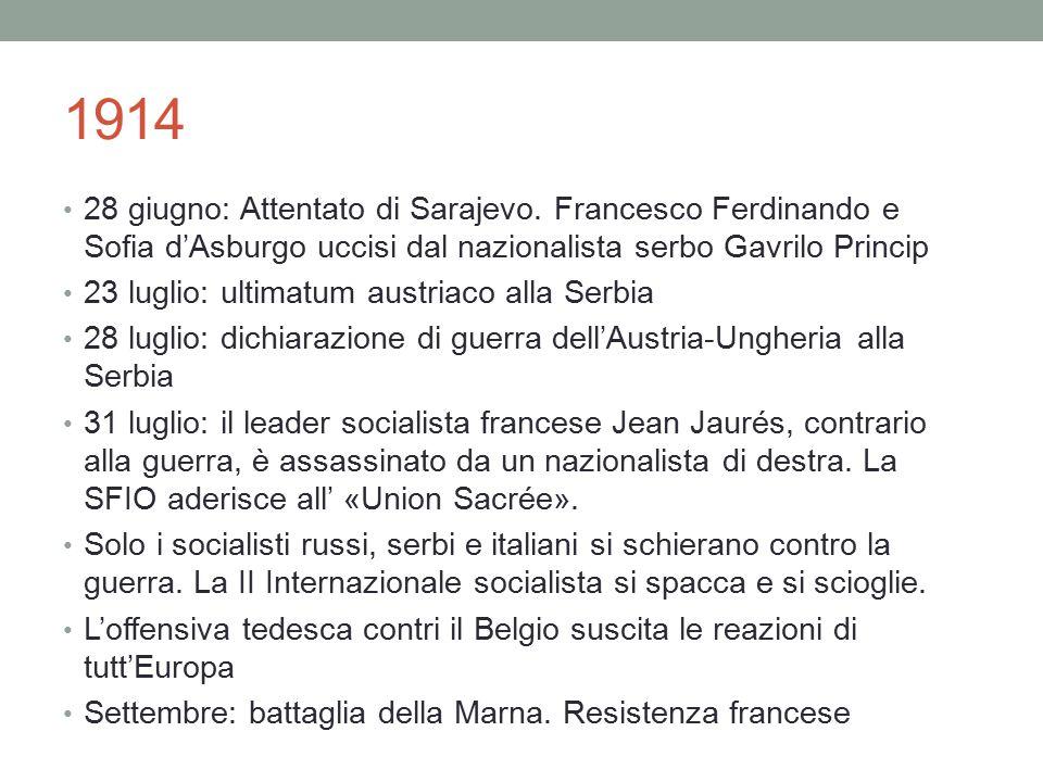 1914 28 giugno: Attentato di Sarajevo. Francesco Ferdinando e Sofia d'Asburgo uccisi dal nazionalista serbo Gavrilo Princip.