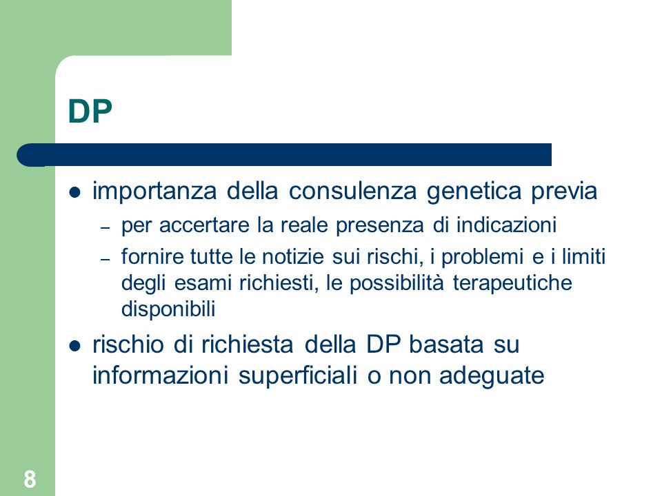 DP importanza della consulenza genetica previa
