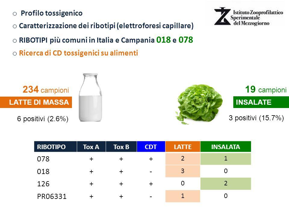 234 campioni 19 campioni Profilo tossigenico