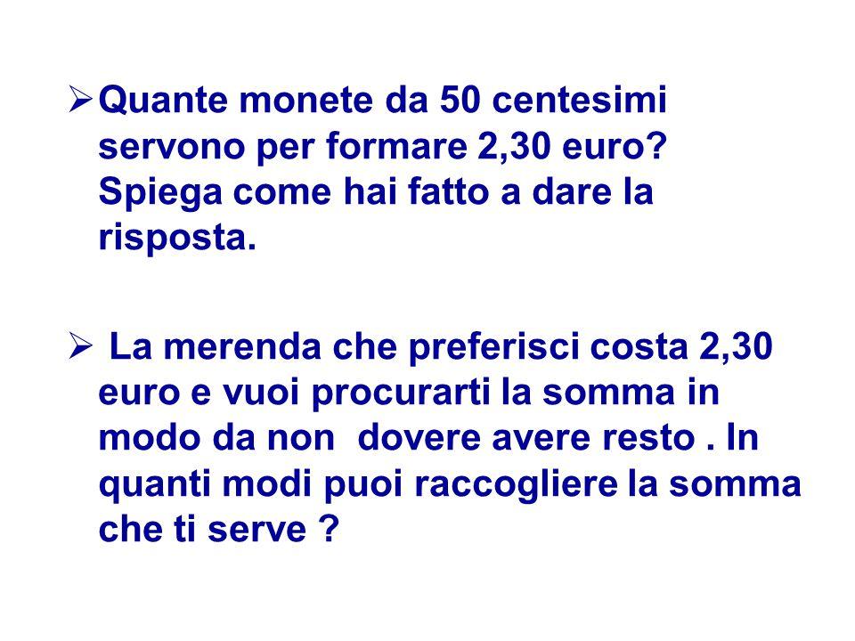 Quante monete da 50 centesimi servono per formare 2,30 euro