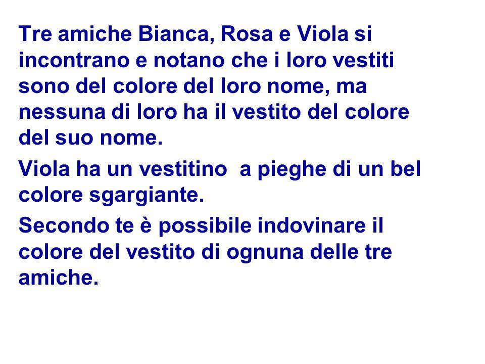 Tre amiche Bianca, Rosa e Viola si incontrano e notano che i loro vestiti sono del colore del loro nome, ma nessuna di loro ha il vestito del colore del suo nome.