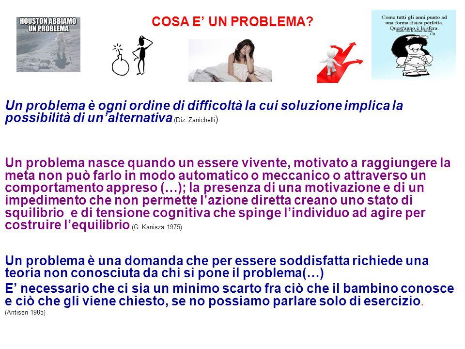 COSA E' UN PROBLEMA Un problema è ogni ordine di difficoltà la cui soluzione implica la possibilità di un'alternativa (Diz. Zanichelli)