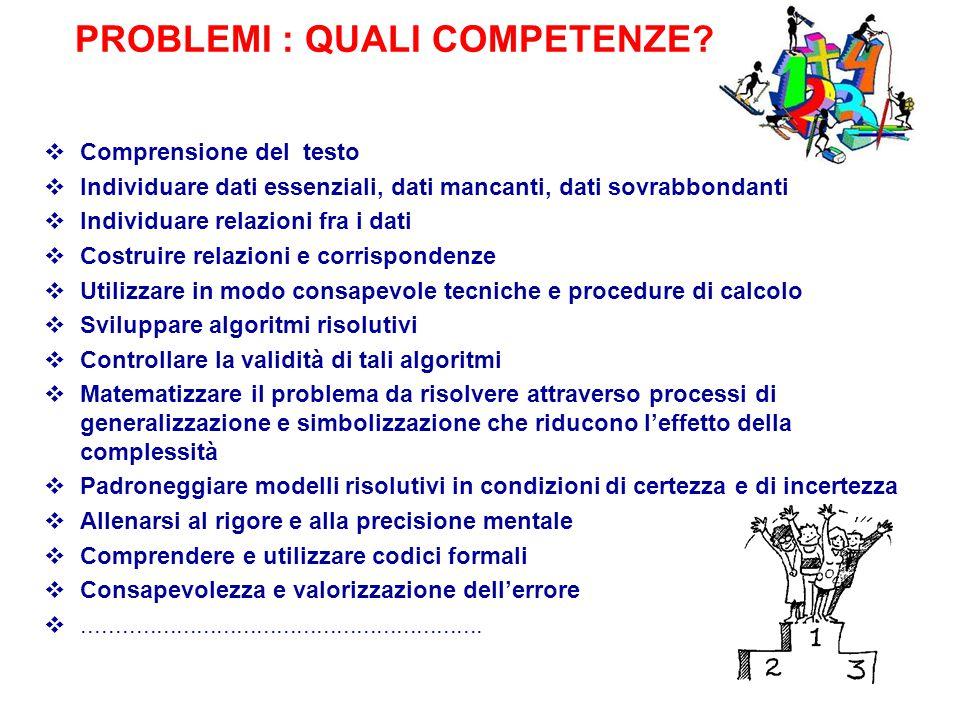 PROBLEMI : QUALI COMPETENZE