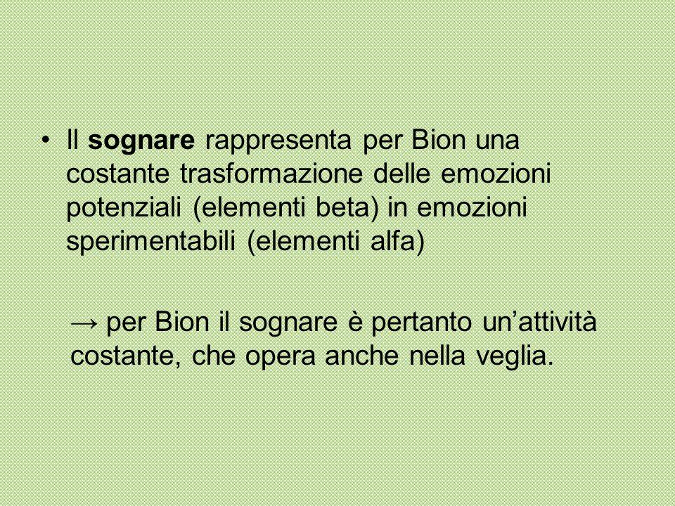 Il sognare rappresenta per Bion una costante trasformazione delle emozioni potenziali (elementi beta) in emozioni sperimentabili (elementi alfa)