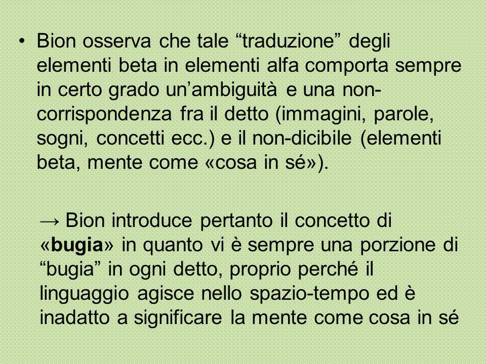 Bion osserva che tale traduzione degli elementi beta in elementi alfa comporta sempre in certo grado un'ambiguità e una non-corrispondenza fra il detto (immagini, parole, sogni, concetti ecc.) e il non-dicibile (elementi beta, mente come «cosa in sé»).