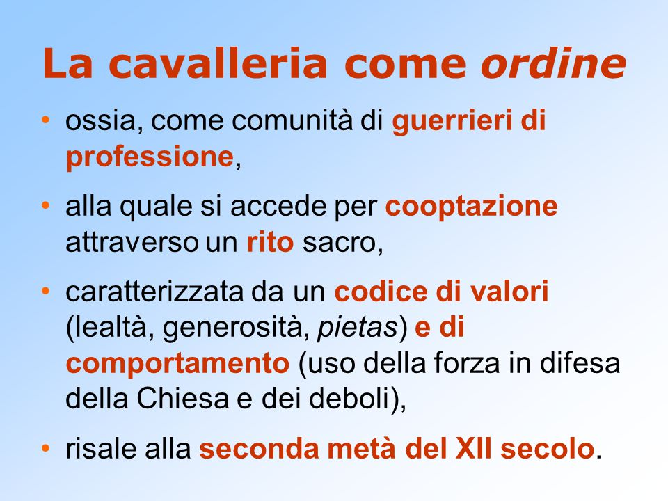 La cavalleria come ordine