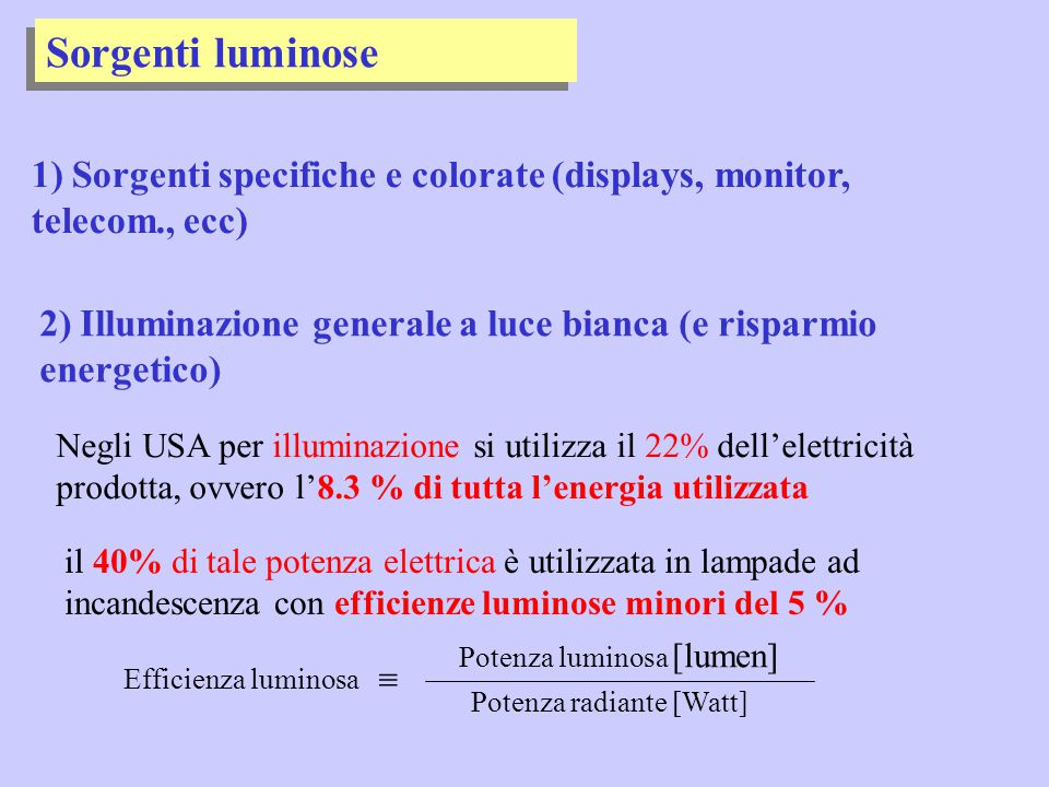 Sorgenti luminose 1) Sorgenti specifiche e colorate (displays, monitor, telecom., ecc)