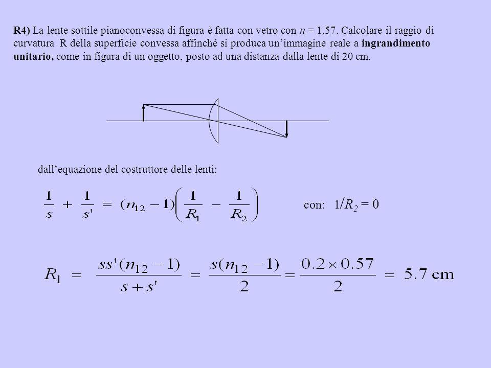 R4) La lente sottile pianoconvessa di figura è fatta con vetro con n = 1.57. Calcolare il raggio di curvatura R della superficie convessa affinché si produca un'immagine reale a ingrandimento unitario, come in figura di un oggetto, posto ad una distanza dalla lente di 20 cm.