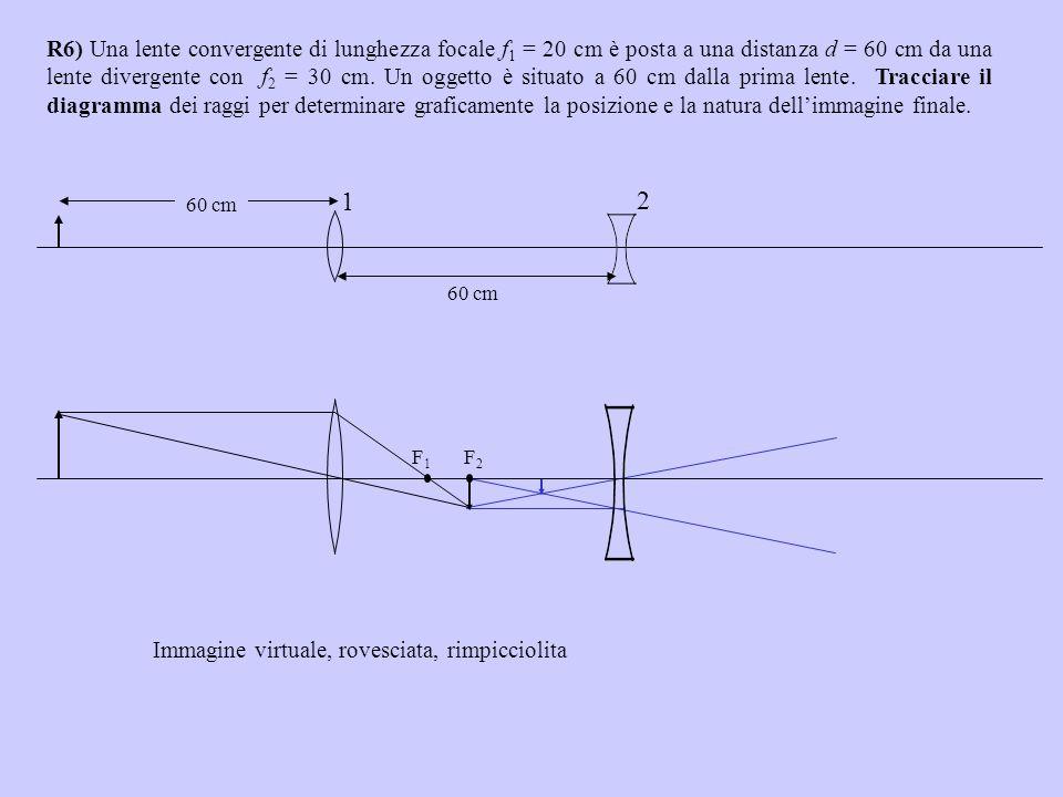 R6) Una lente convergente di lunghezza focale f1 = 20 cm è posta a una distanza d = 60 cm da una lente divergente con f2 = 30 cm. Un oggetto è situato a 60 cm dalla prima lente. Tracciare il diagramma dei raggi per determinare graficamente la posizione e la natura dell'immagine finale.