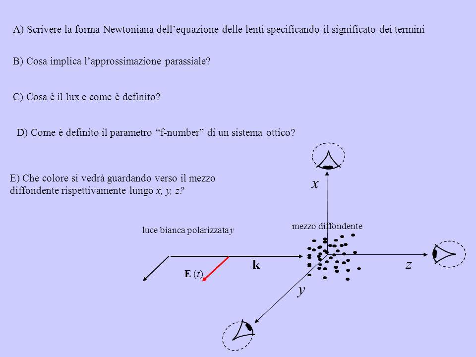 A) Scrivere la forma Newtoniana dell'equazione delle lenti specificando il significato dei termini
