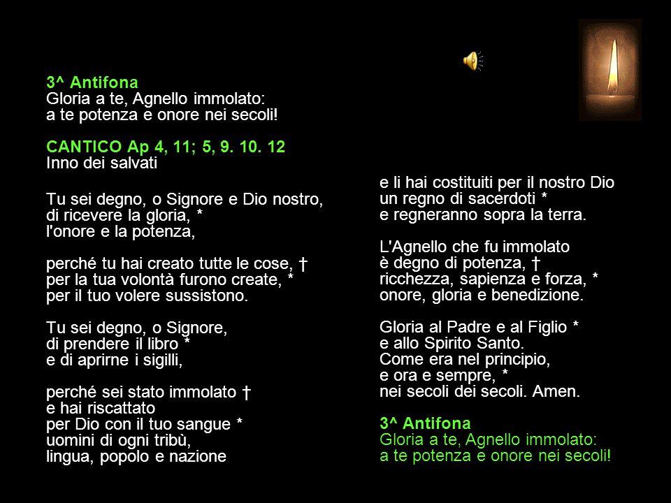 3^ Antifona Gloria a te, Agnello immolato: a te potenza e onore nei secoli! CANTICO Ap 4, 11; 5, 9. 10. 12 Inno dei salvati
