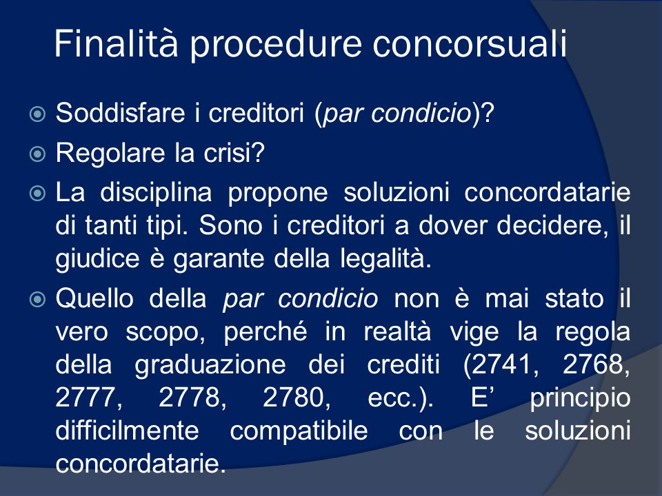 Finalità procedure concorsuali