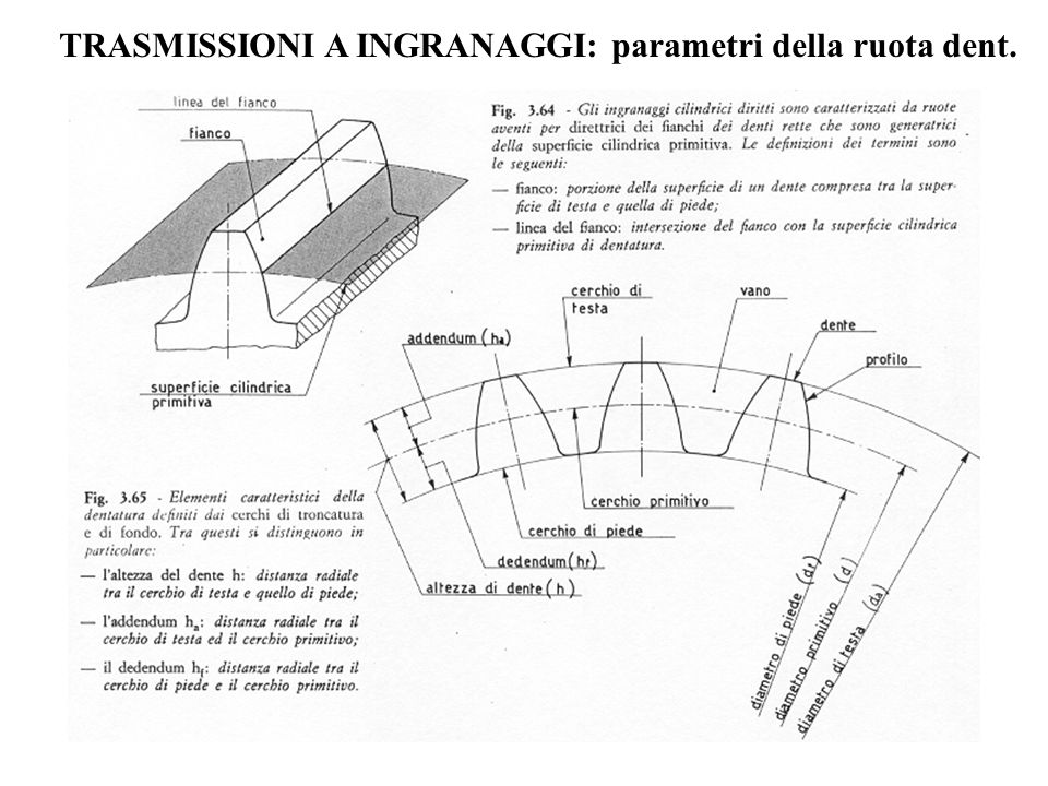 TRASMISSIONI A INGRANAGGI: parametri della ruota dent.