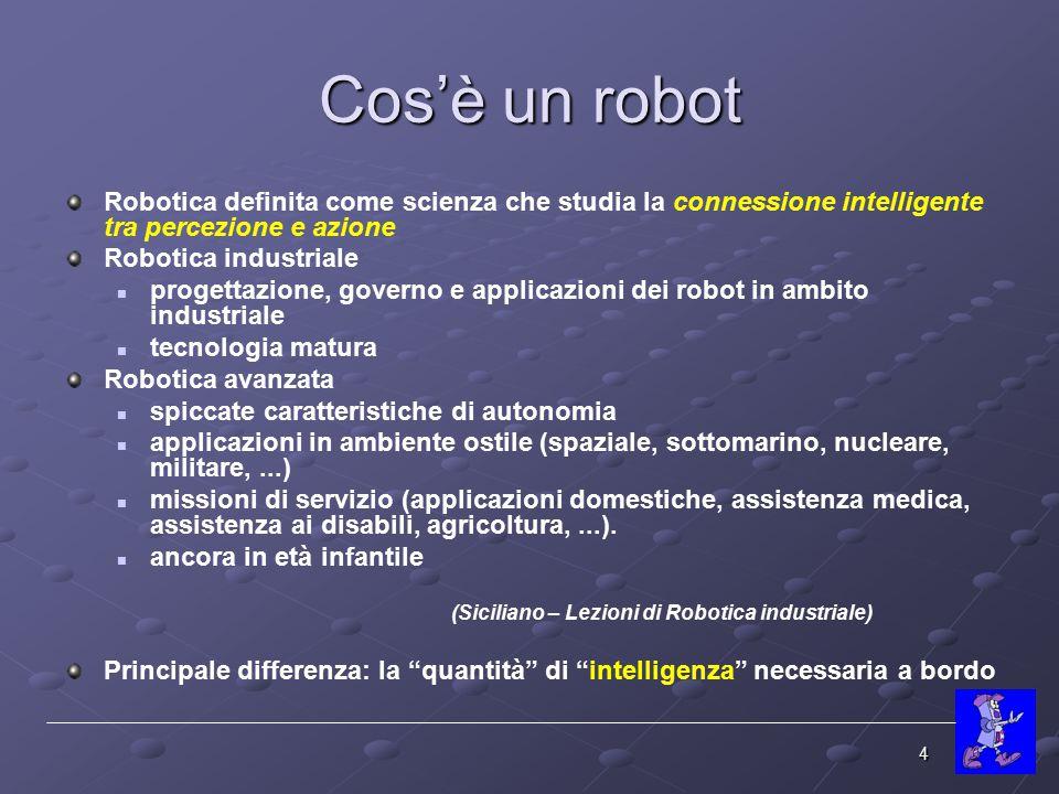 Cos'è un robot Robotica definita come scienza che studia la connessione intelligente tra percezione e azione.