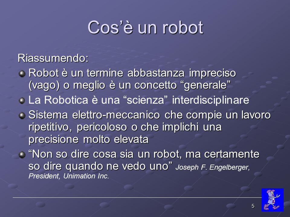 Cos'è un robot Riassumendo: