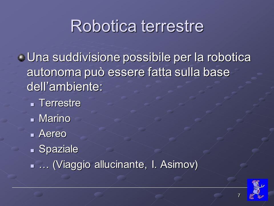 Robotica terrestre Una suddivisione possibile per la robotica autonoma può essere fatta sulla base dell'ambiente:
