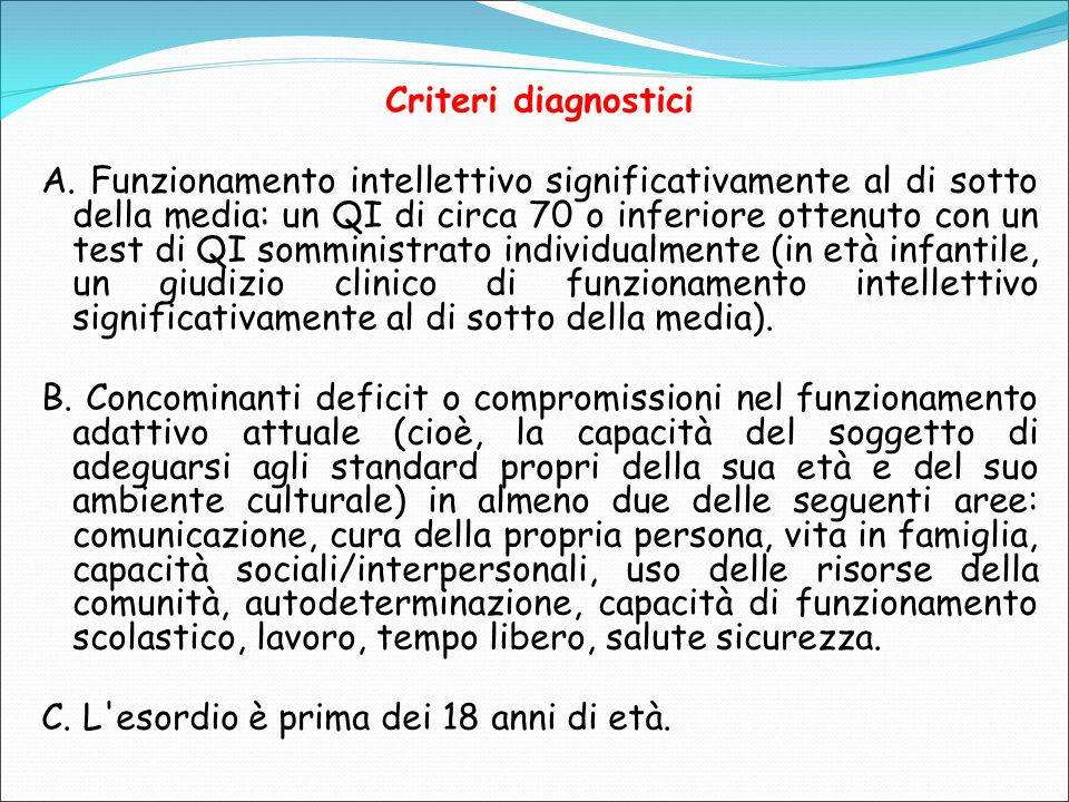Criteri diagnostici