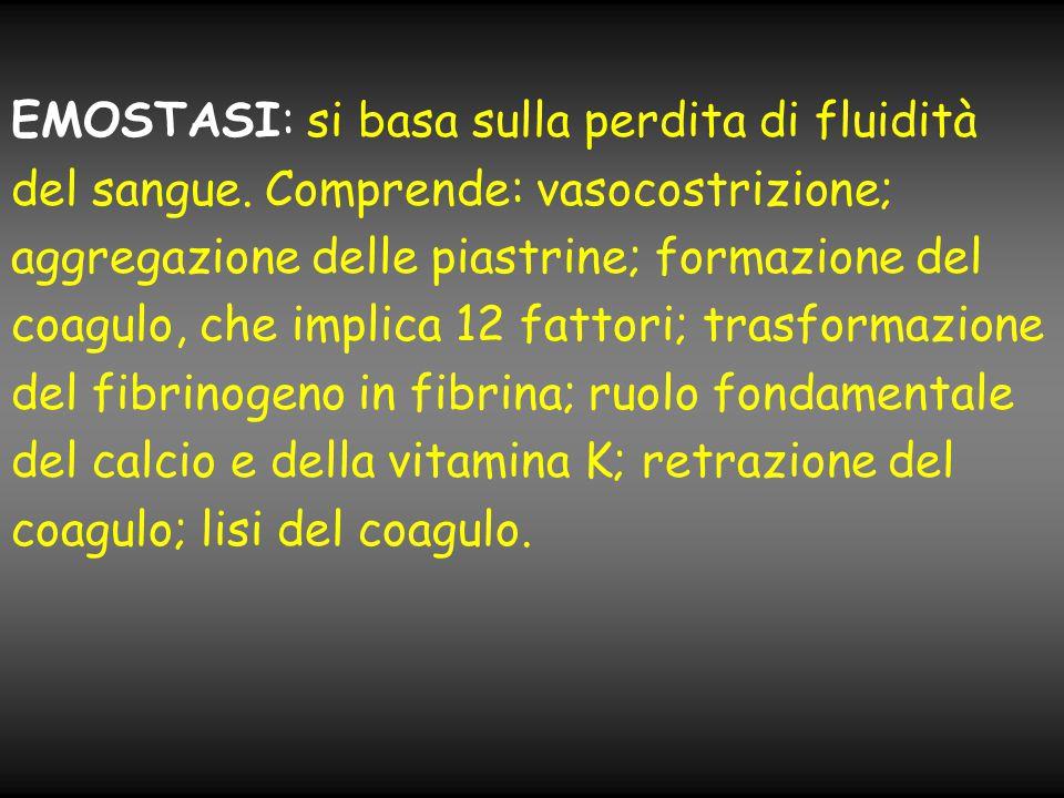 EMOSTASI: si basa sulla perdita di fluidità del sangue