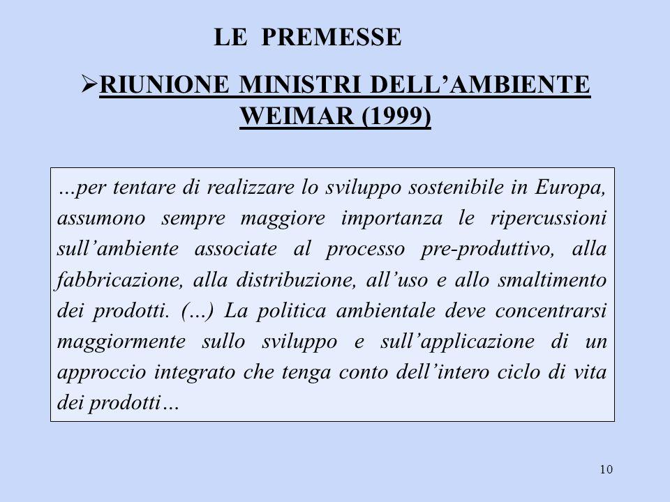 RIUNIONE MINISTRI DELL'AMBIENTE WEIMAR (1999)