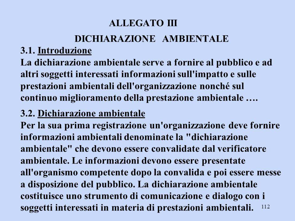 ALLEGATO III DICHIARAZIONE AMBIENTALE 3. 1
