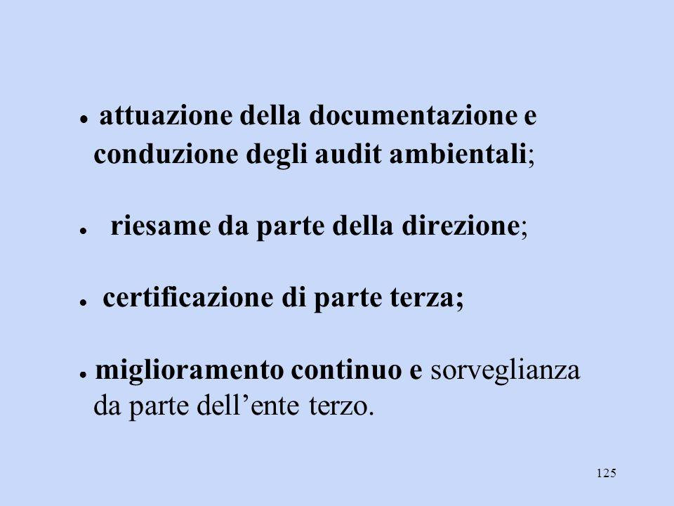 ● attuazione della documentazione e conduzione degli audit ambientali; ● riesame da parte della direzione; ● certificazione di parte terza; ● miglioramento continuo e sorveglianza da parte dell'ente terzo.