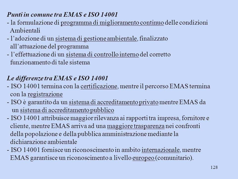 Punti in comune tra EMAS e ISO 14001
