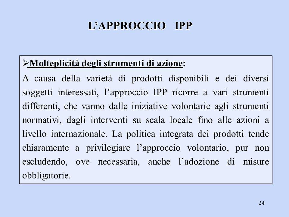 L'APPROCCIO IPP Molteplicità degli strumenti di azione: