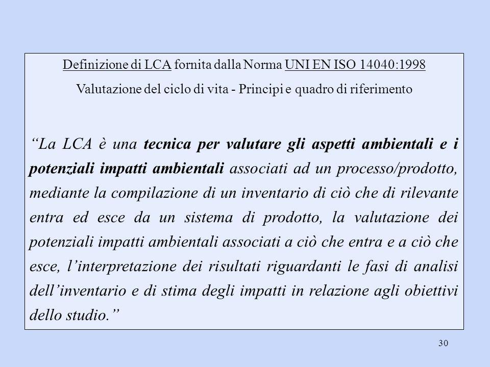 Definizione di LCA fornita dalla Norma UNI EN ISO 14040:1998
