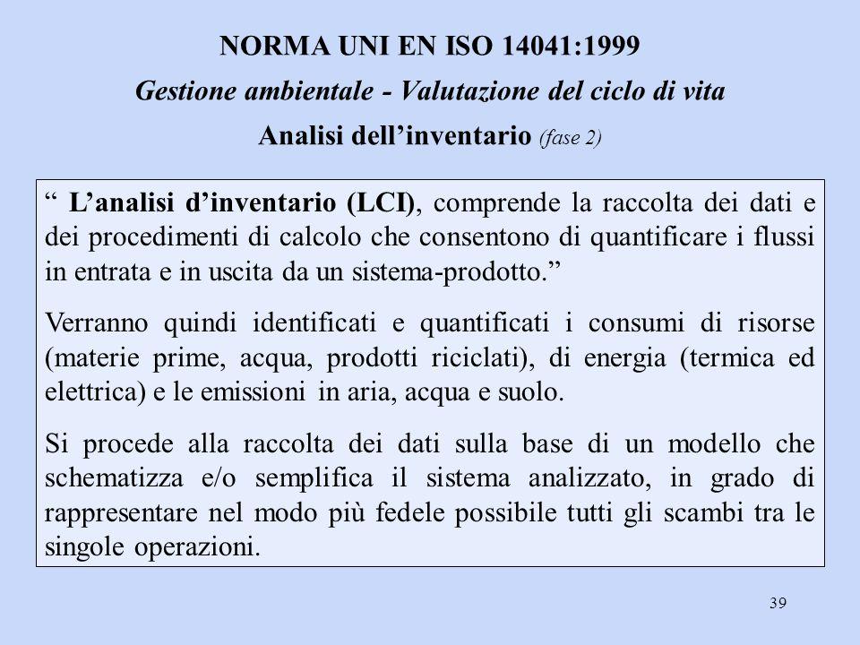 NORMA UNI EN ISO 14041:1999 Gestione ambientale - Valutazione del ciclo di vita Analisi dell'inventario (fase 2)