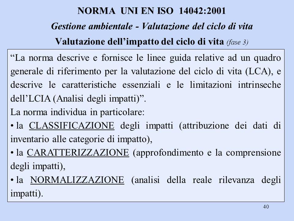 NORMA UNI EN ISO 14042:2001 Gestione ambientale - Valutazione del ciclo di vita Valutazione dell'impatto del ciclo di vita (fase 3)