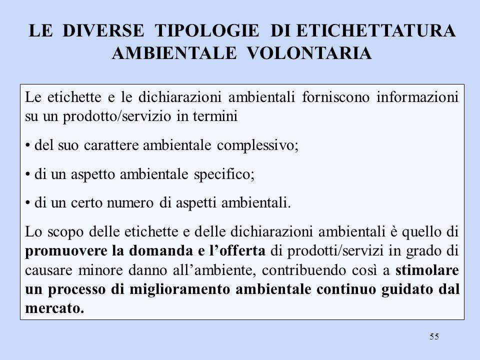 LE DIVERSE TIPOLOGIE DI ETICHETTATURA AMBIENTALE VOLONTARIA