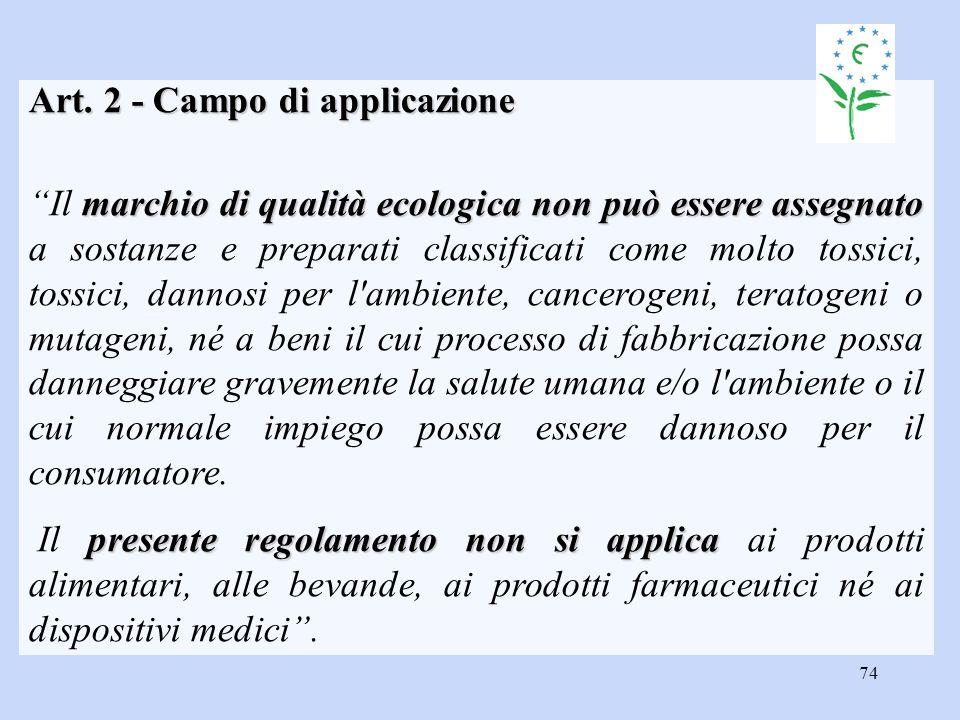 Art. 2 - Campo di applicazione