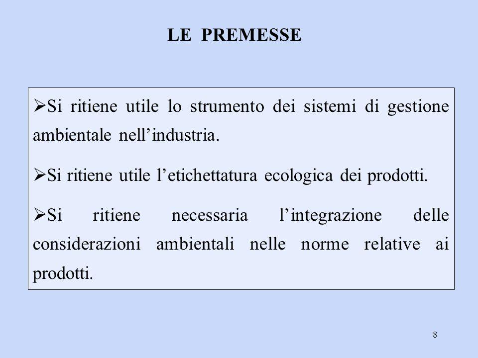LE PREMESSE Si ritiene utile lo strumento dei sistemi di gestione ambientale nell'industria.