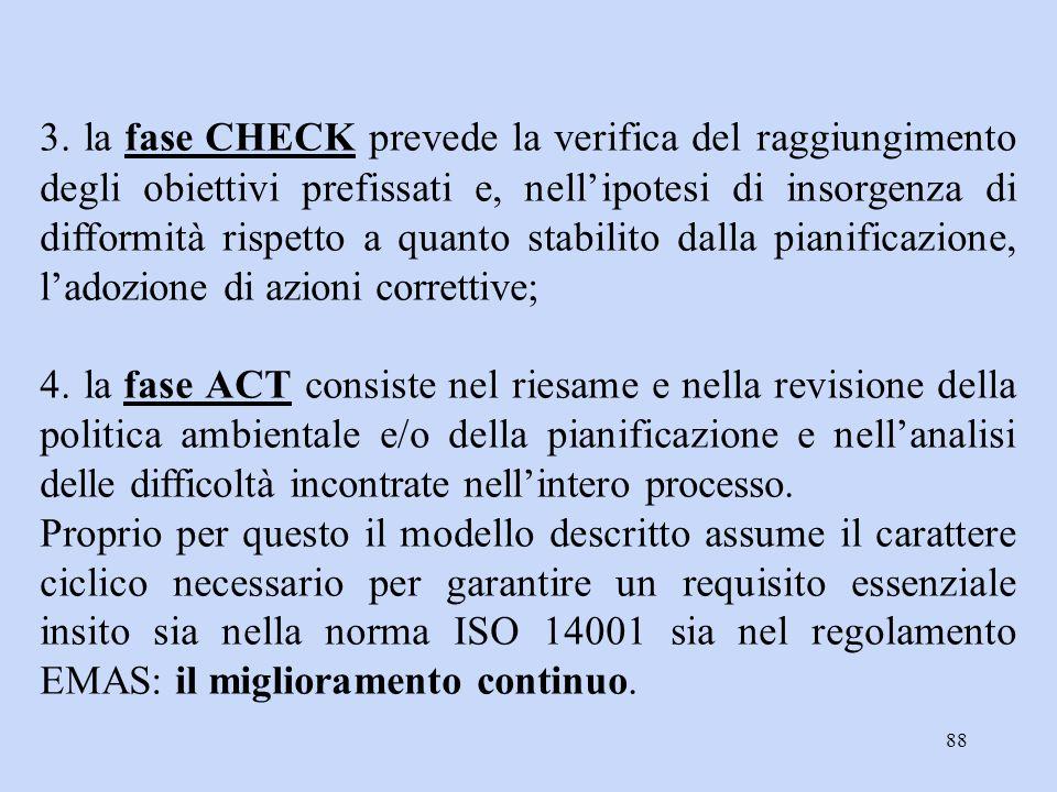 3. la fase CHECK prevede la verifica del raggiungimento degli obiettivi prefissati e, nell'ipotesi di insorgenza di difformità rispetto a quanto stabilito dalla pianificazione, l'adozione di azioni correttive;