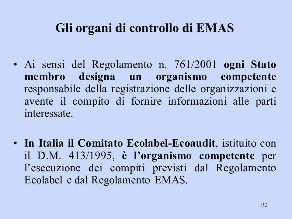 Gli organi di controllo di EMAS