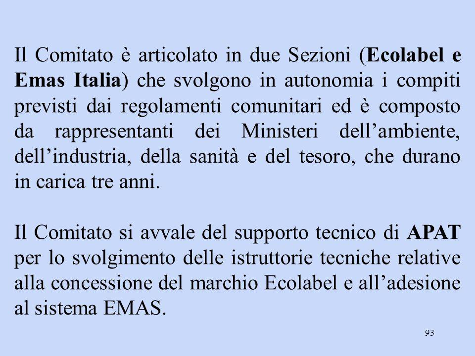Il Comitato è articolato in due Sezioni (Ecolabel e Emas Italia) che svolgono in autonomia i compiti previsti dai regolamenti comunitari ed è composto da rappresentanti dei Ministeri dell'ambiente, dell'industria, della sanità e del tesoro, che durano in carica tre anni.