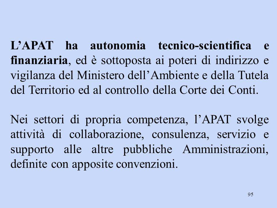 L'APAT ha autonomia tecnico-scientifica e finanziaria, ed è sottoposta ai poteri di indirizzo e vigilanza del Ministero dell'Ambiente e della Tutela del Territorio ed al controllo della Corte dei Conti.