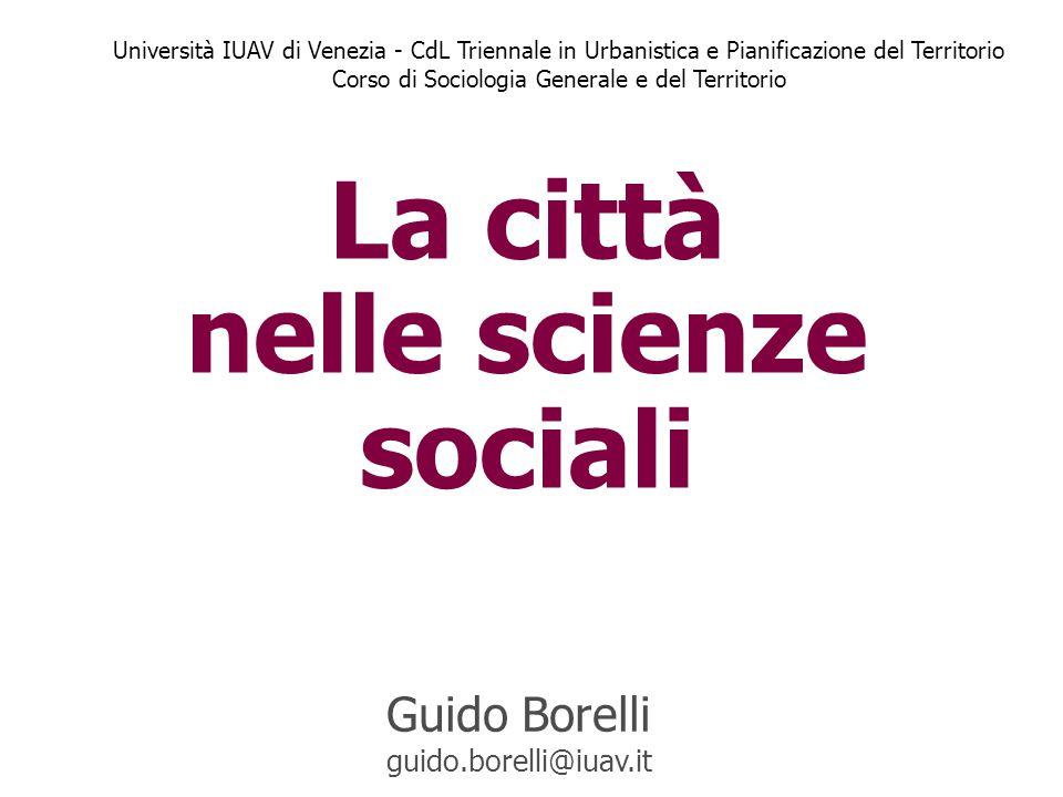 La città nelle scienze sociali