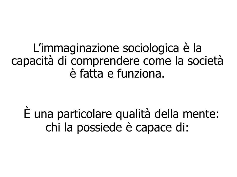 L'immaginazione sociologica è la capacità di comprendere come la società è fatta e funziona. È una particolare qualità della mente: chi la possiede è capace di: