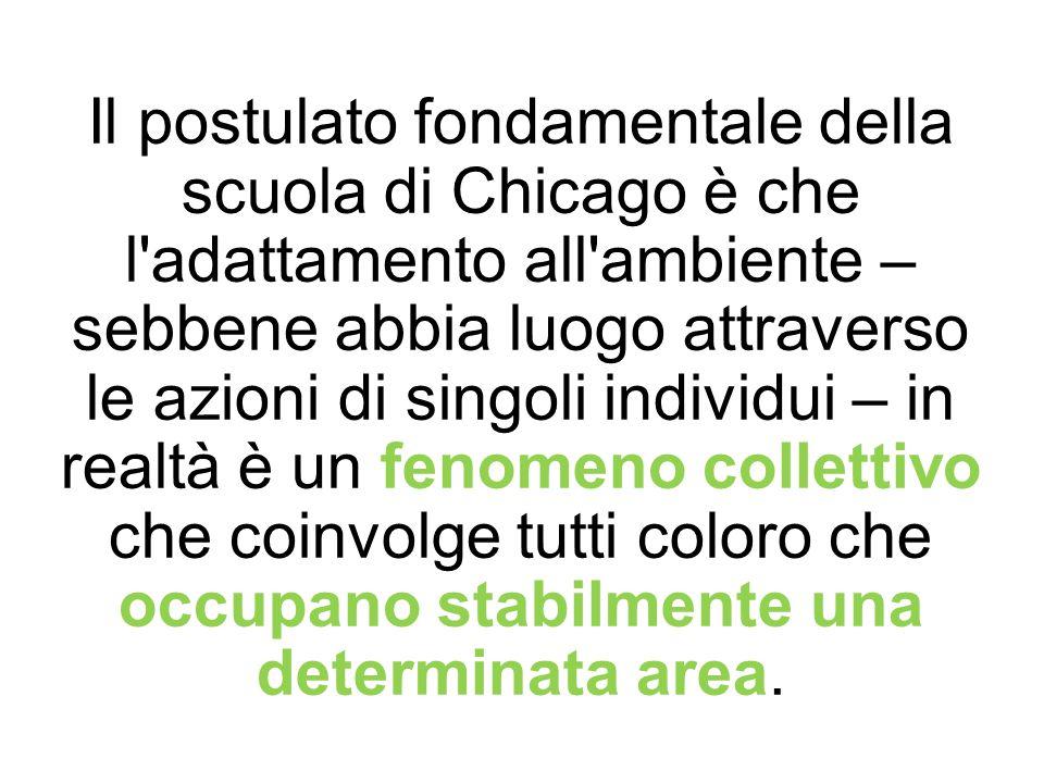 Il postulato fondamentale della scuola di Chicago è che l adattamento all ambiente – sebbene abbia luogo attraverso le azioni di singoli individui – in realtà è un fenomeno collettivo che coinvolge tutti coloro che occupano stabilmente una determinata area.