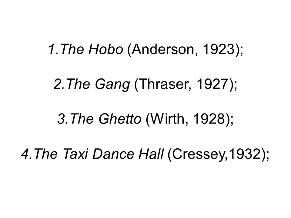 The Taxi Dance Hall (Cressey,1932);