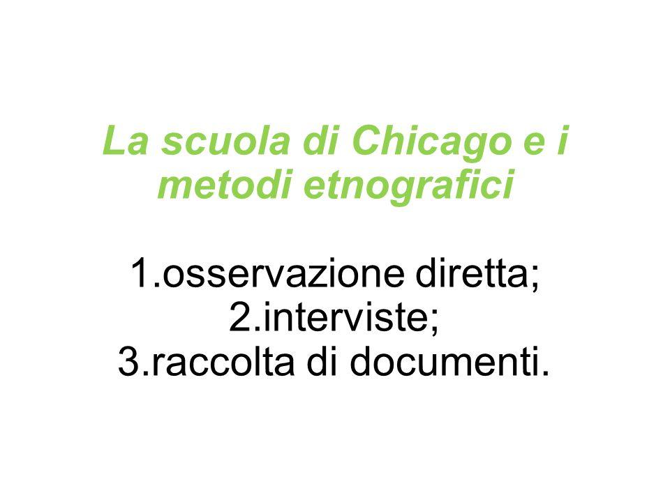 La scuola di Chicago e i metodi etnografici