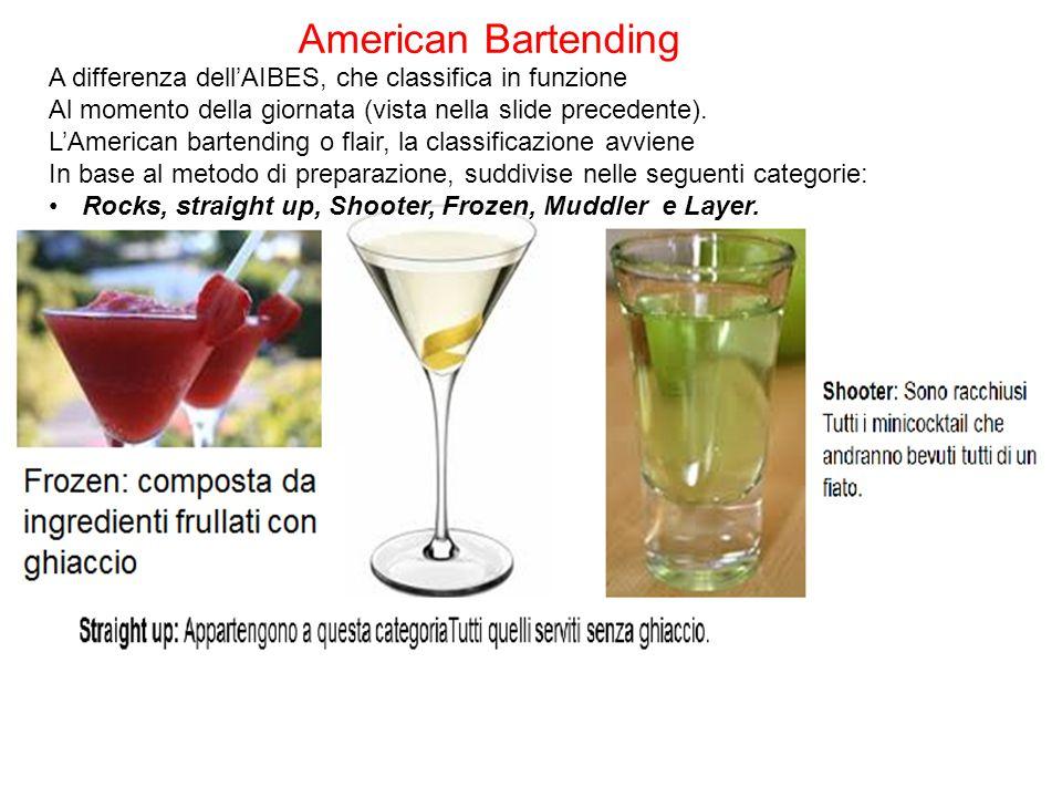 American Bartending A differenza dell'AIBES, che classifica in funzione. Al momento della giornata (vista nella slide precedente).