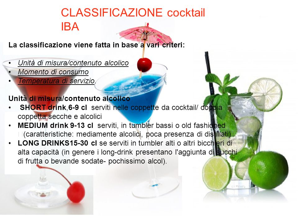 CLASSIFICAZIONE cocktail IBA