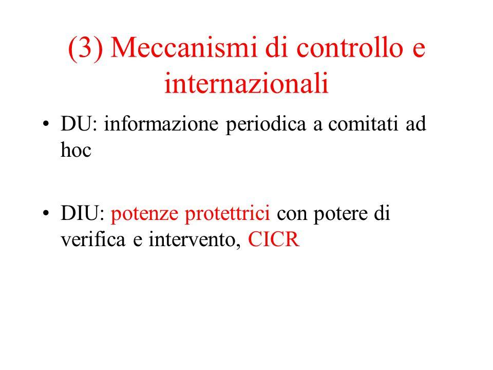 (3) Meccanismi di controllo e internazionali