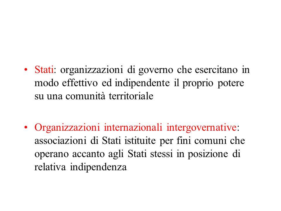 Stati: organizzazioni di governo che esercitano in modo effettivo ed indipendente il proprio potere su una comunità territoriale