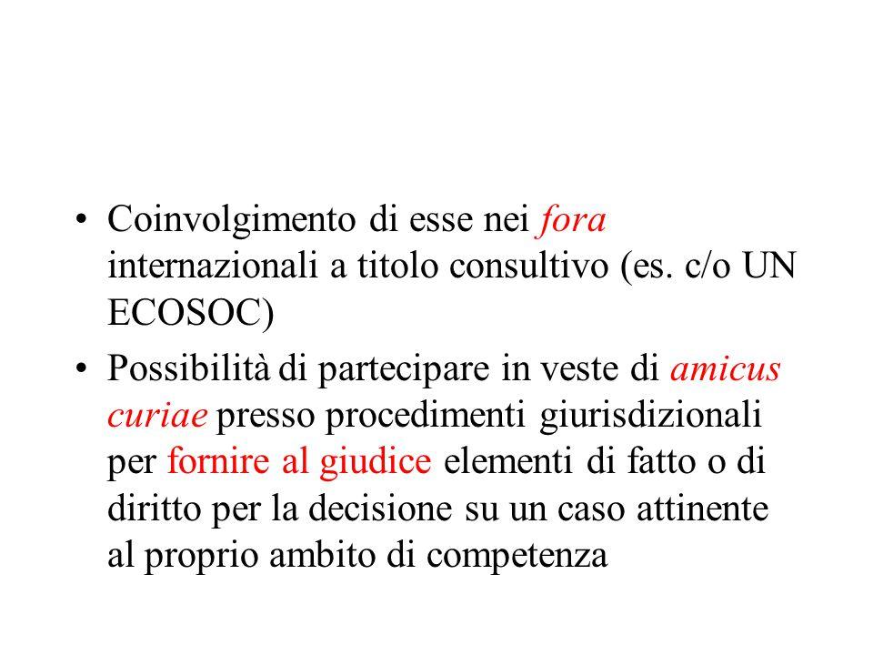 Coinvolgimento di esse nei fora internazionali a titolo consultivo (es