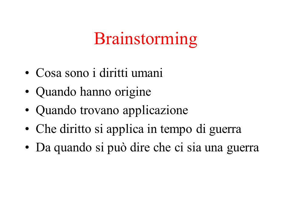 Brainstorming Cosa sono i diritti umani Quando hanno origine