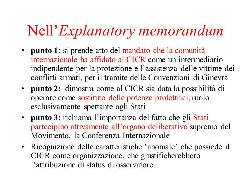 Nell'Explanatory memorandum