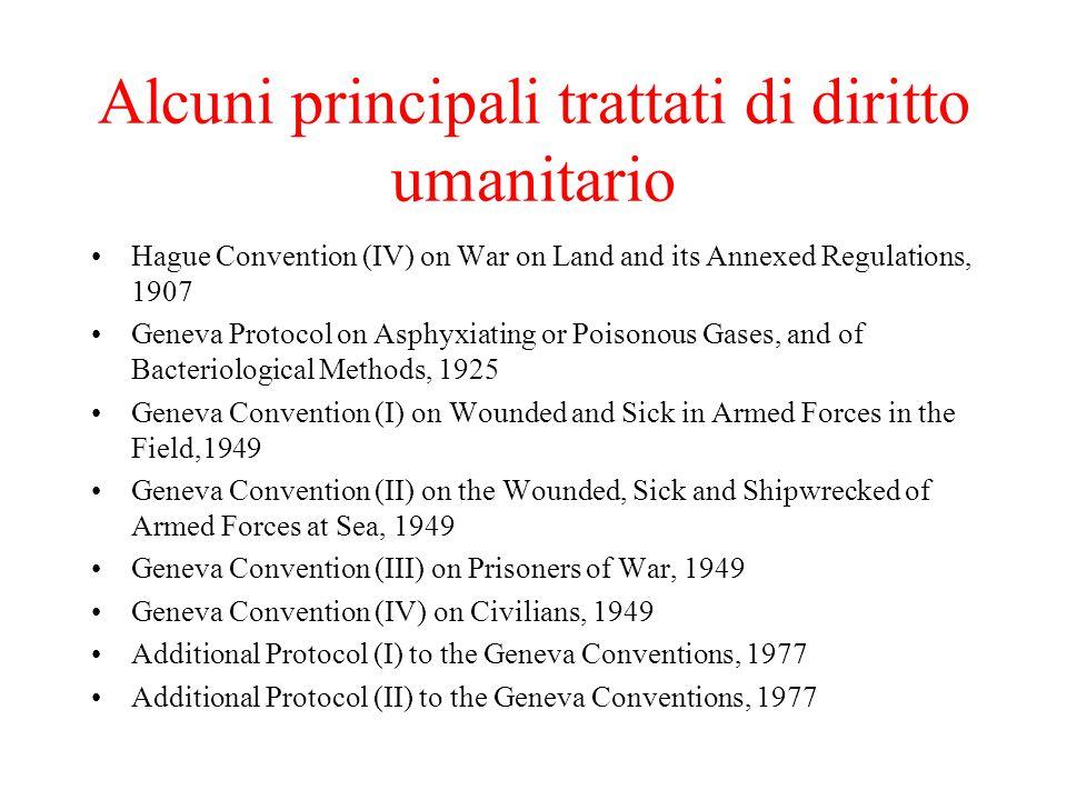 Alcuni principali trattati di diritto umanitario